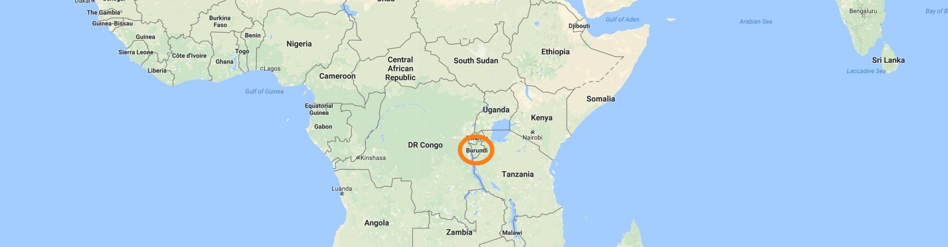 A map with Burundi circled