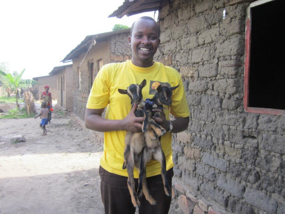 Our Staff in Buterere, Burundi, preparing to donate a gift of livestock (goats).